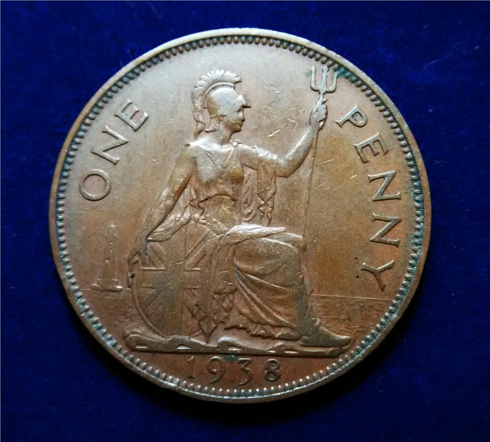 Great Britain (1) One Bronze Penny 1938. Beautiful Coin !