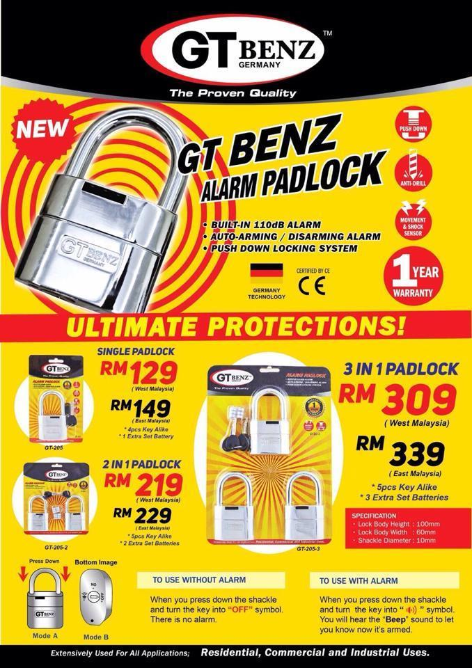 GT Benz Alarm Padlock House Office Shop Motor Lori Bike (CNY Offer)