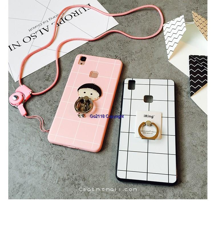 GY Vivo V3 Grid Pattern Lanyard Ring Holder Back Case Cover Casing
