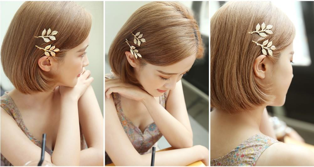 HA0006 VINTAGE GOLDEN LEAF SIDE HAIR CLIP
