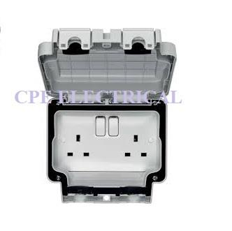 Hager Sollysta 13A 2 Gang Double Pole Switched IP66 Socket