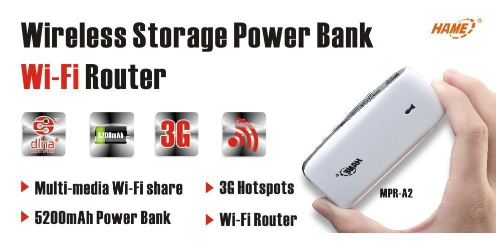 HAME A2 5200mAh Wireless Storage Power Bank Wi-Fi Router