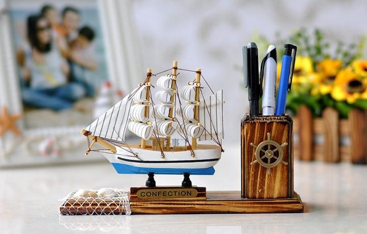 HAND-CRAFTED WOODEN SAILING SHIP WITH PEN HOLDER