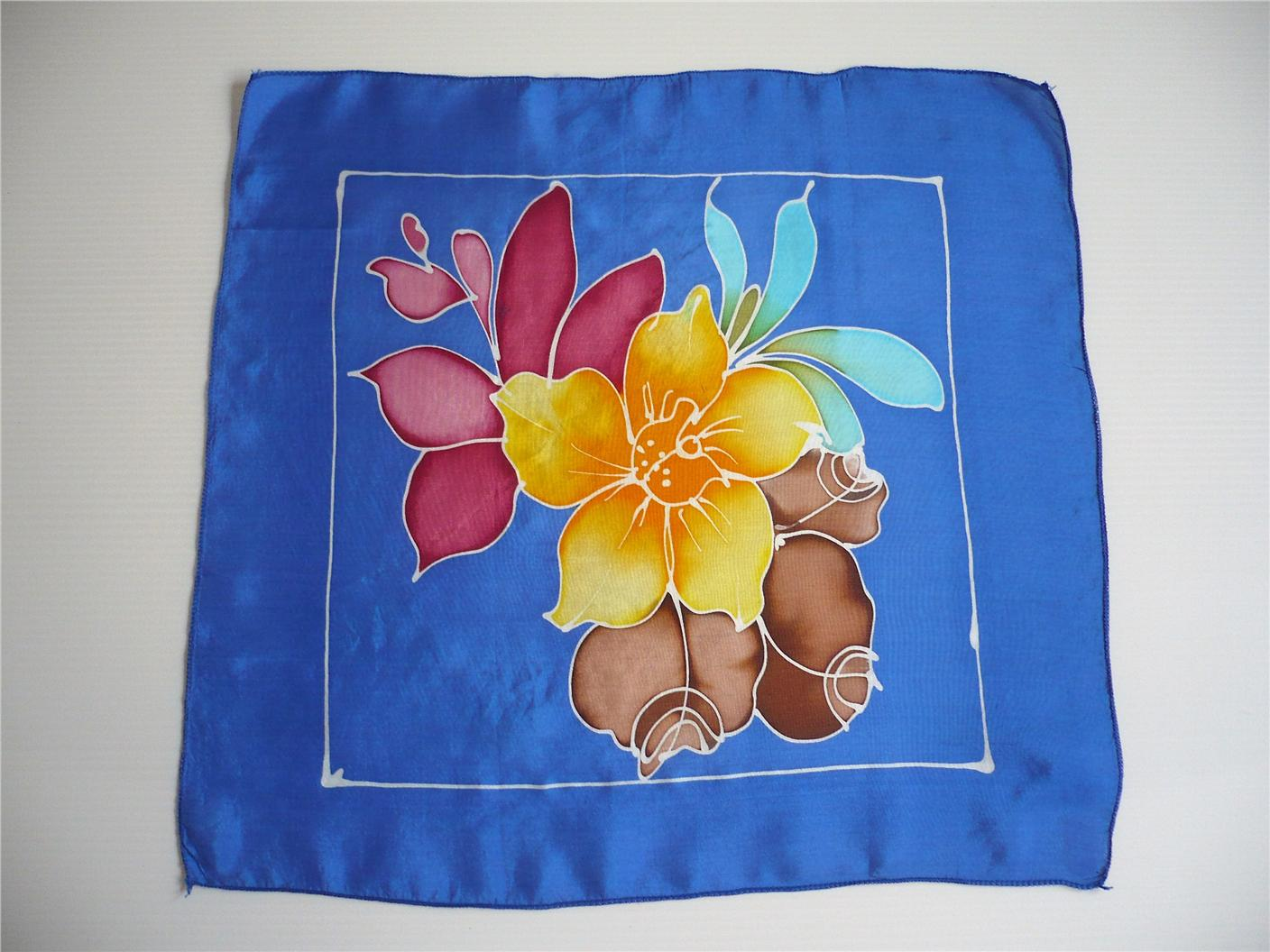 Hand drawn silk hankerchief (Code S102) - FREE SHIPPING