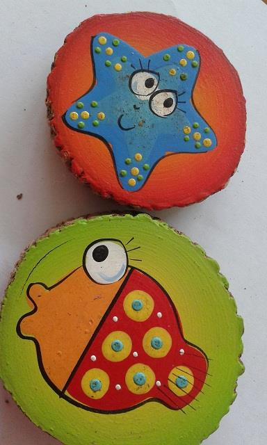 Hand Painted Natural Wood Slice Magnets D (5 pieces)