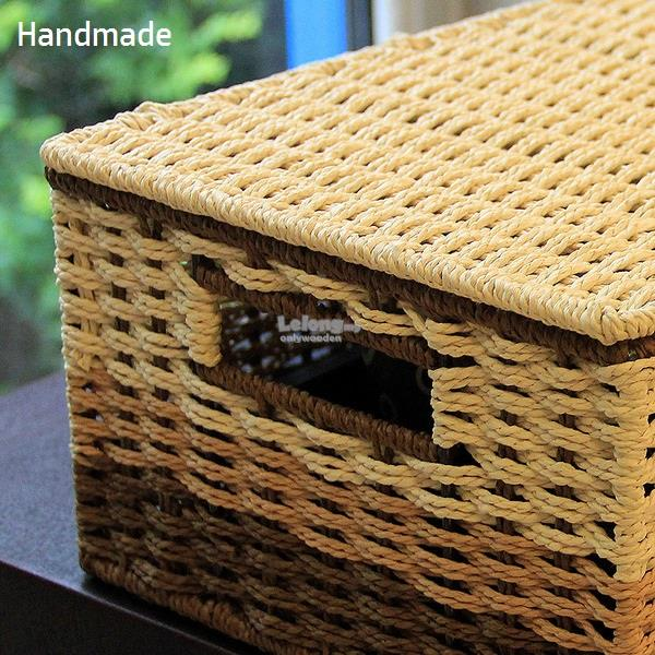 Handmade Solid Nature Paper Rattan Storage Boxes, Basket, Box With Lid