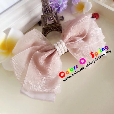 Handmade Sweet Pink Satin combine with white beads Hairpin