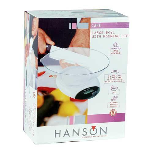 Hanson Cafe Electronic Kitchen Scale 2KG / 2LITERS