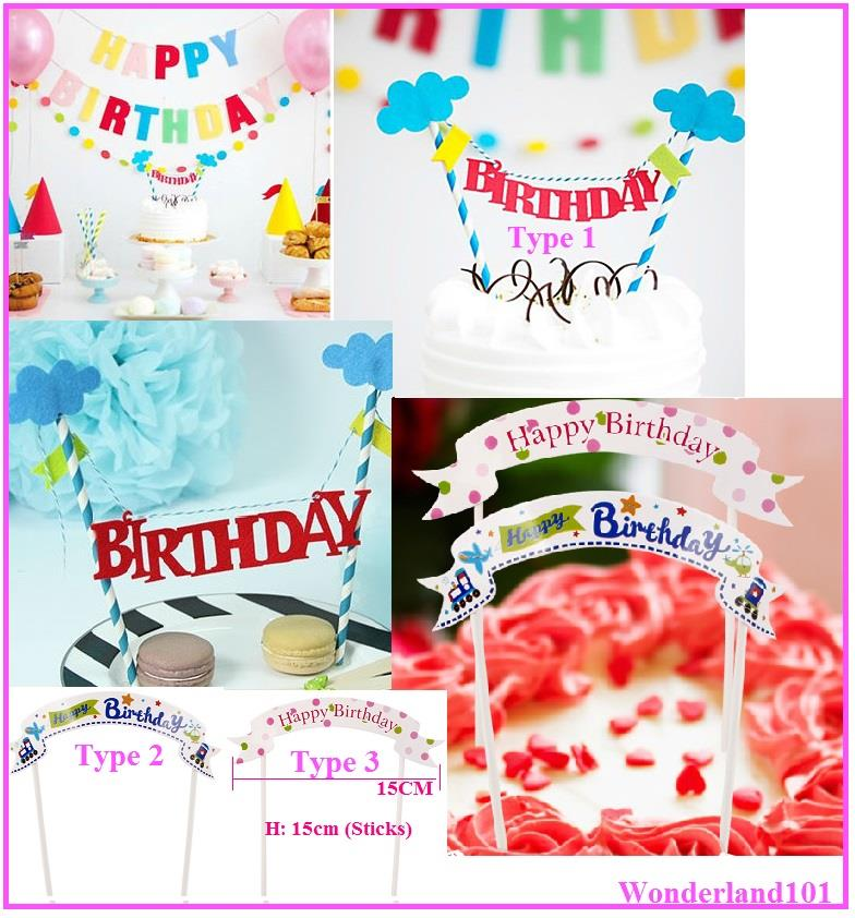 Happy Birthday Cake Topper Banner Bunting for Birthday Cake Decoration