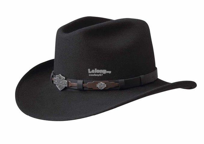 Harley-Davidson Black Crushable Cowboy Hat - New