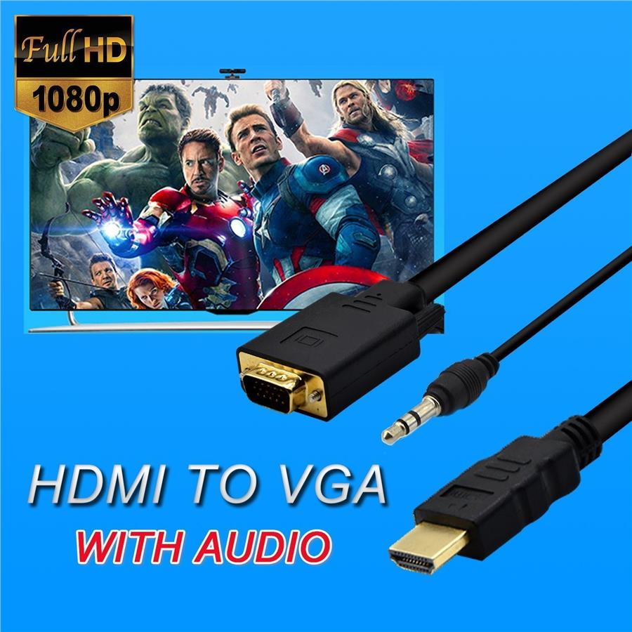 HDMI to VGA HD Video Audio 3.5mm Port Converter Adapter Cable 1.8meter