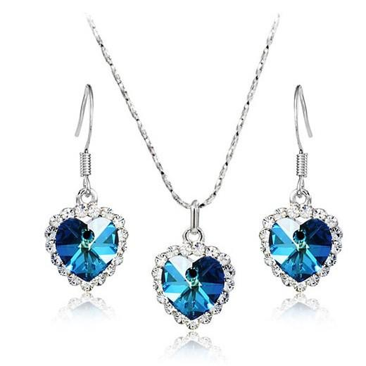 Heart of Ocean Crystal Earings + Necklace Set
