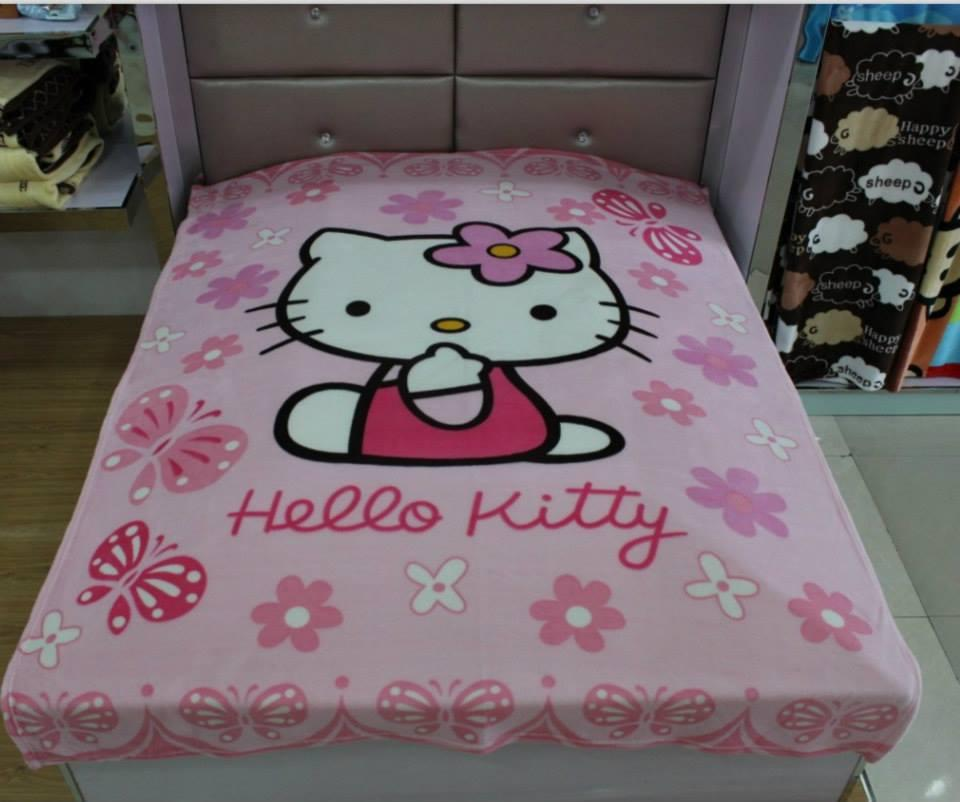 HELLO KITTY PINK SMALL RASCHEL FLEECE BLANKET