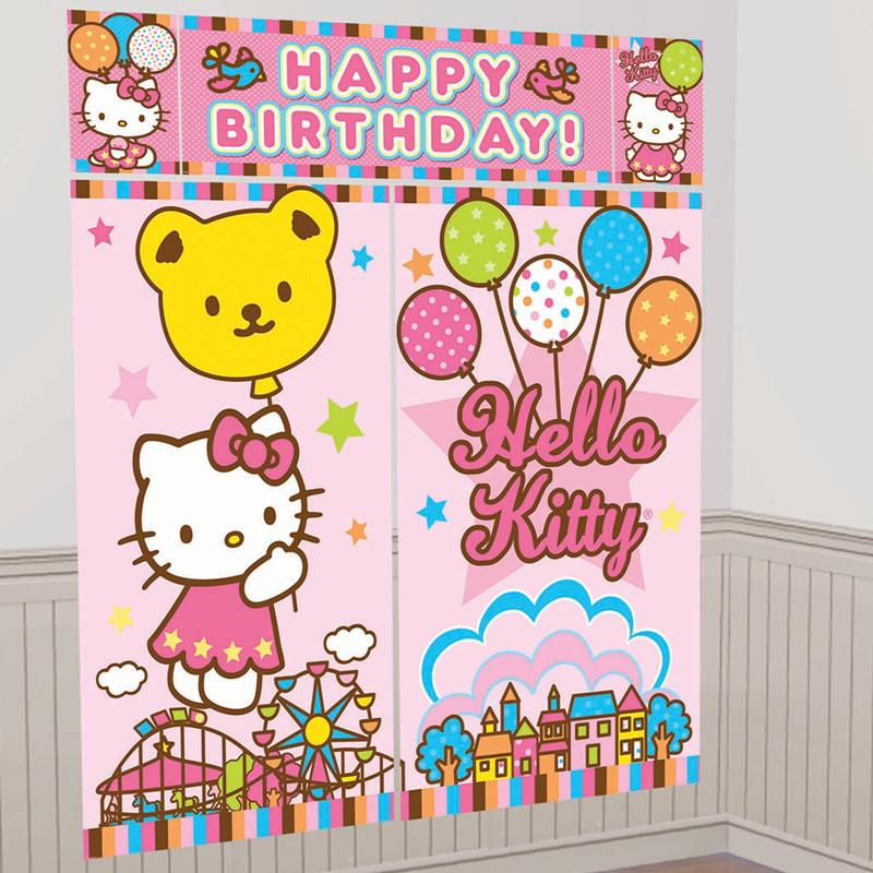 Hello Kitty Scene Setter Happy Birthday 6ft FREE GLUE DOTS