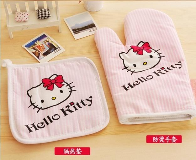Hello Kitty White Red Strip Baking Cooking Gloves with Cover