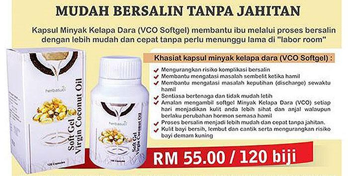 Herbasuci Soft Gel Virgin Coconut Oil 120 capsules x 2 + Fresh & Cool