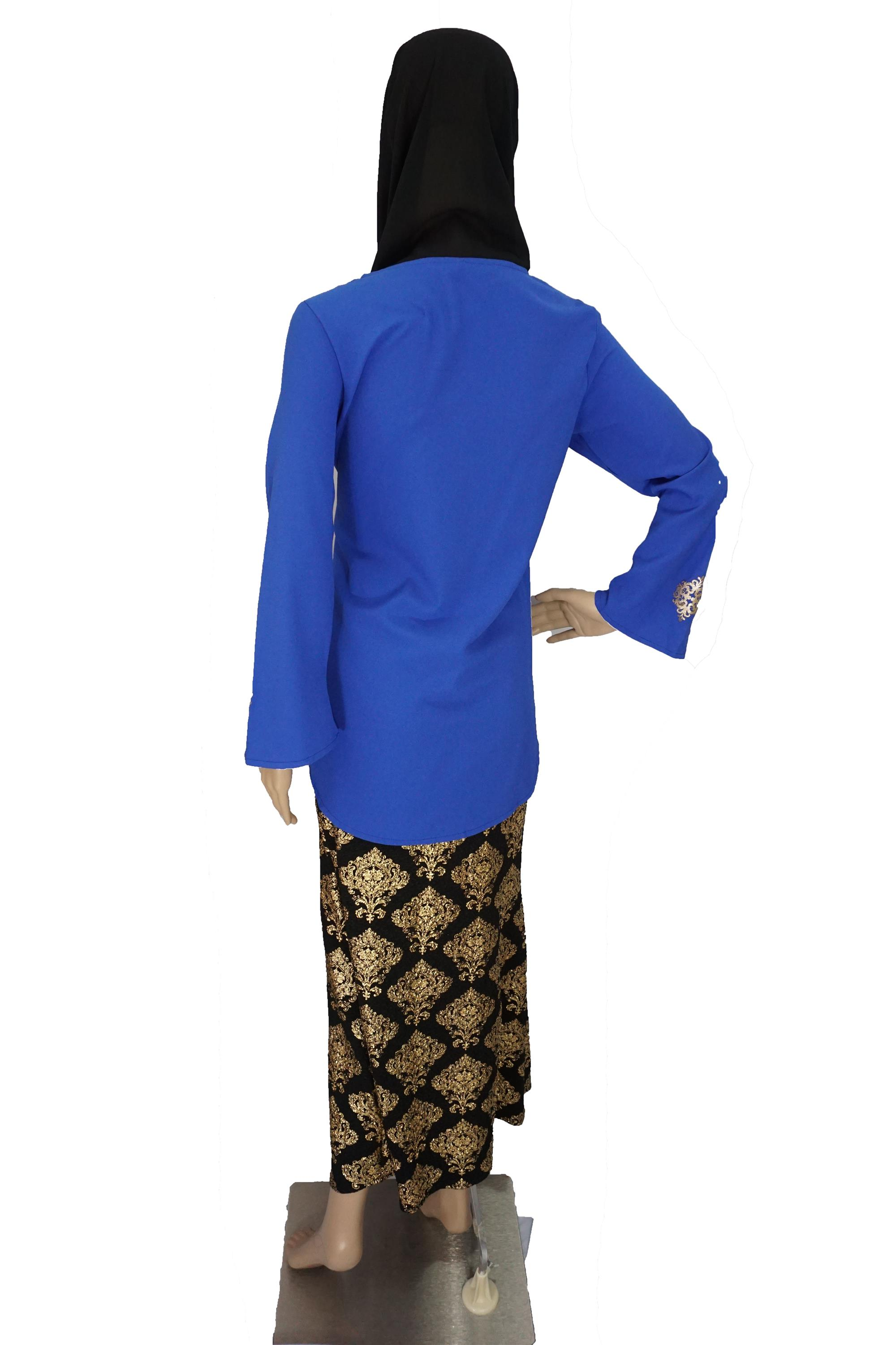 Hermosa Muslimah Top Crepe Blouse Dokoh Blue Moden #TP081BE61 001