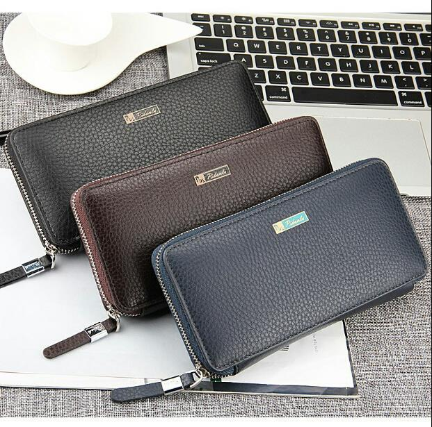 High-end men multi functional zipper medium long wallet