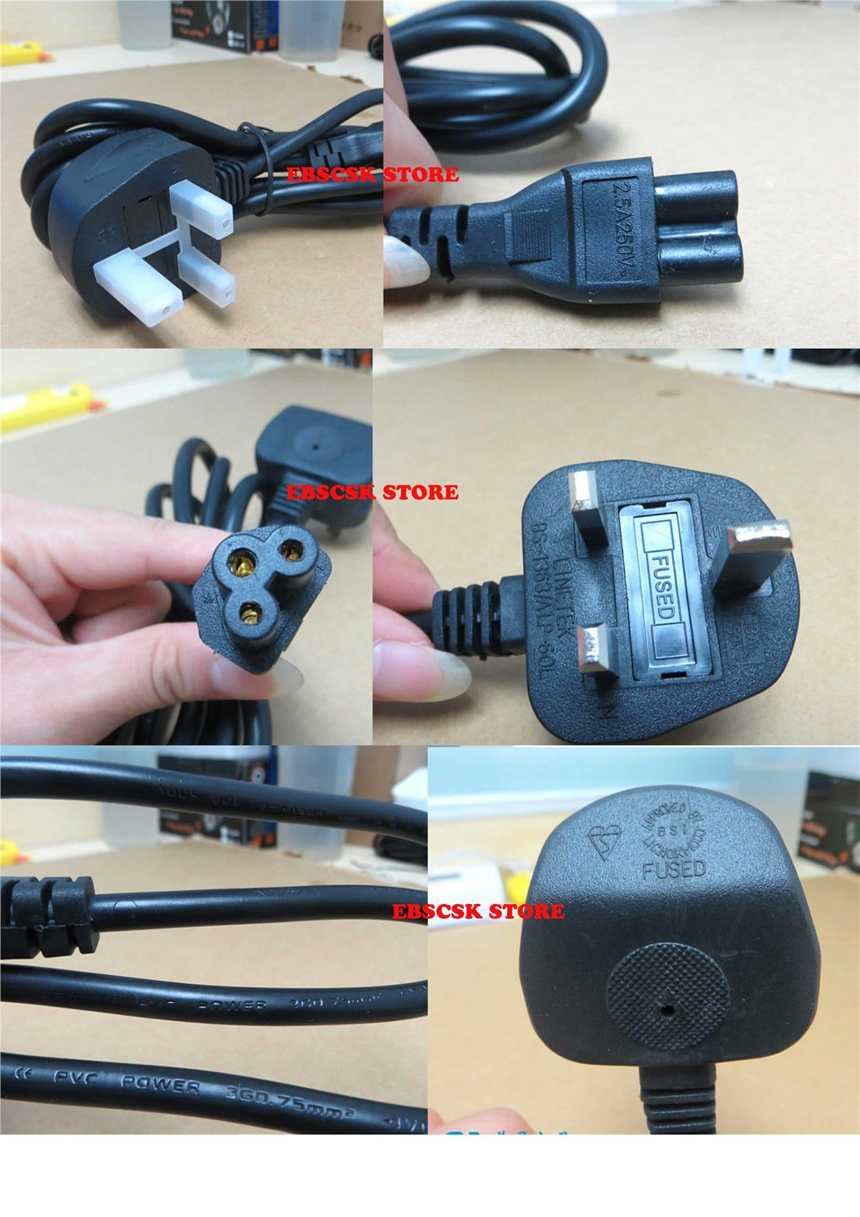 HIGH QUALITY 3 PIN TO NOTEBOOK Monitor POWER CABLE WITH FUSE