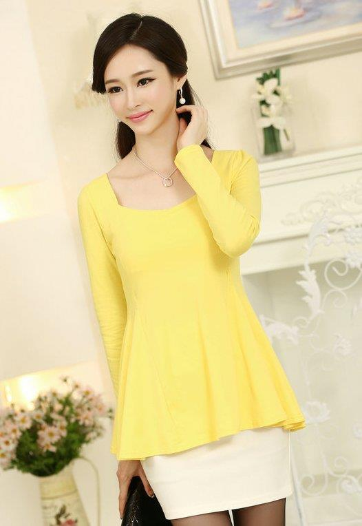 High Quality Elegant Long-Sleeve Peplum Blouse (Yellow)