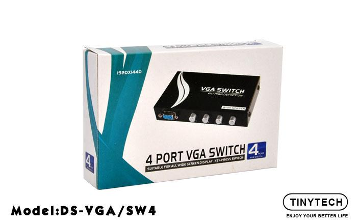 HIGH QUALITY KVM 4 PORT VGA SWITCH RESOLUTION 1920 X 1440 (DS-VGA/SW4)