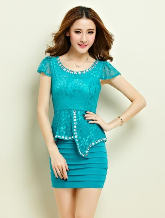 High Quality Lace Show-slim Dress (Blue)