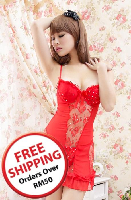 High Quality Lace Sling Lingrie + Panties (Red)~14833-Red