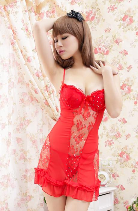High Quality Lace Sling Lingrie + Panties (Red)