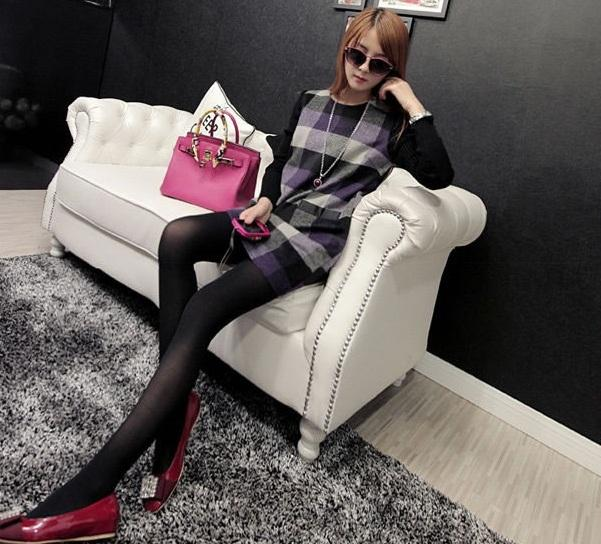 High Quality Plaid Trendy Fashionable Long Sleeved Checkered Dress PUR
