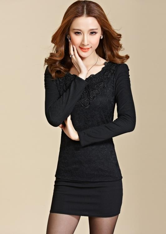 High Quality Show-slim Lace Long-sleeve Blouse (Black)