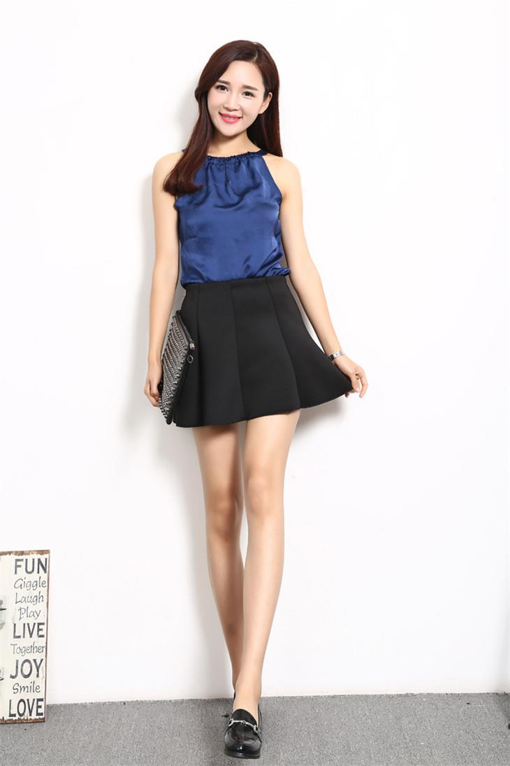 High Quality Space Cotton Pleated Skirt (Black)