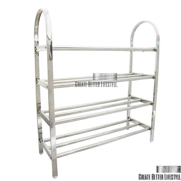 High Quality Stainless Steel 4 Tier Shoe Rack Storage Organizer