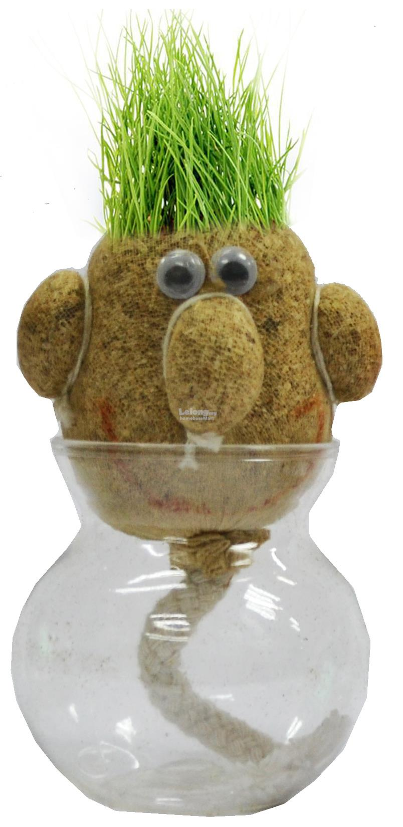 HOME DECO GIFT DIY SET Grass Head Dolls - Small Face Dark Brown