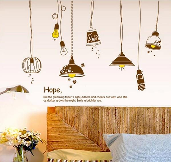 Homestay deco friendly decals deal brown lamp wall stickers-TY9140