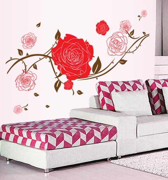 Homestay deco friendly decals unique design rose flower wall art