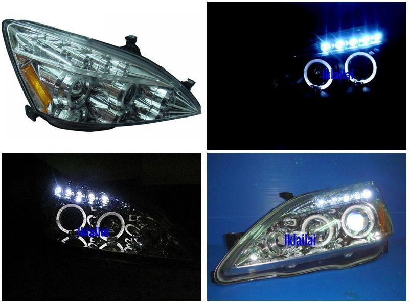 Honda Accord '03-07 LED Ring Projector Head Lamp Chrome