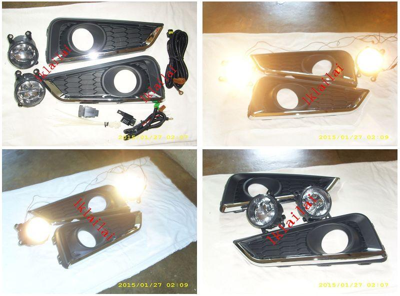 Honda City '14 Fog Lamp +Cover w Chrome Lining+Wiring & Switch [Glass