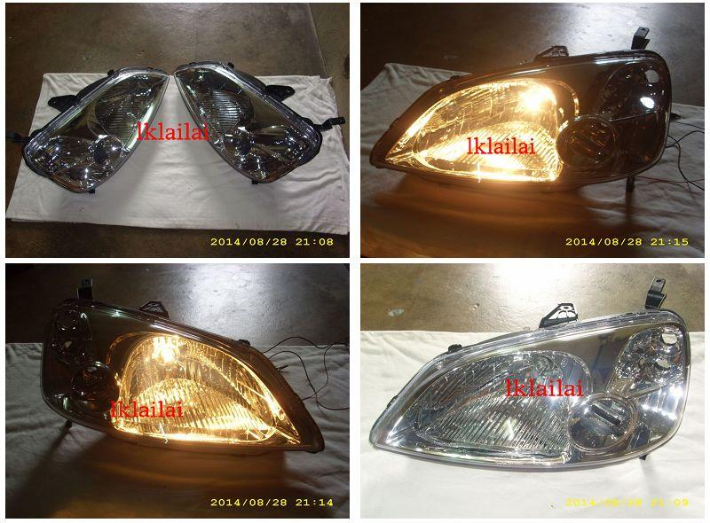 Honda Civic '01-03 Crystal Chrome Head Lamp H4 Bulb Included [1-pair]