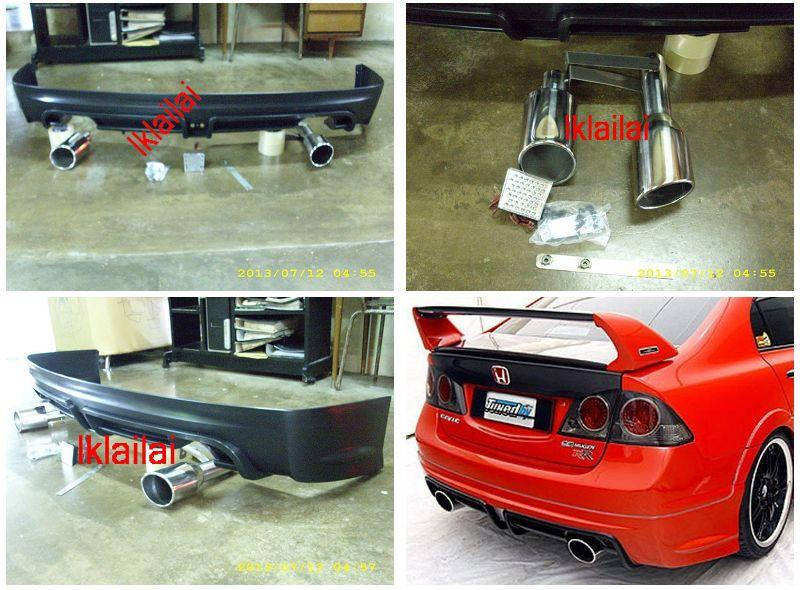 Honda Civic FD '06 Mugen RR Rear Skirt/Lip+Brake Light+Twin Exhaust Ti
