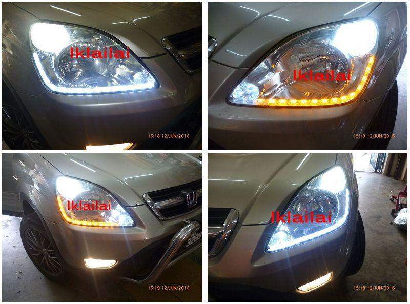 Honda CRV '02 LED DRL R8 with Running Signal Crystal Head Lamp