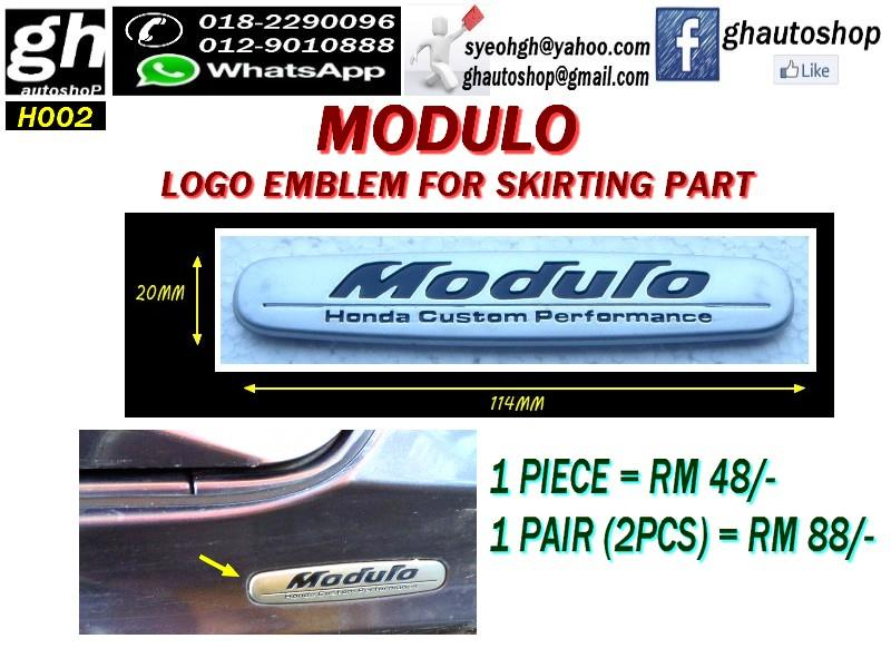 HONDA MODULO LOGO EMBLEM FOR SKIRTING PART H002