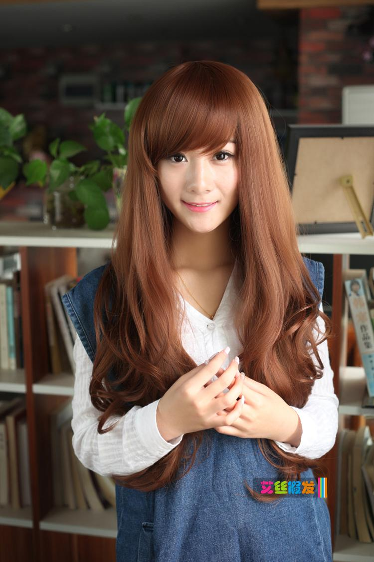 Honey brown long curve td3/rambut palsu/ ready stock