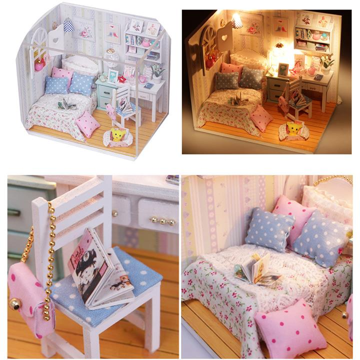 Hoomeda DIY Wood Dollhouse Miniature With LED Furniture Cover Doll Hou