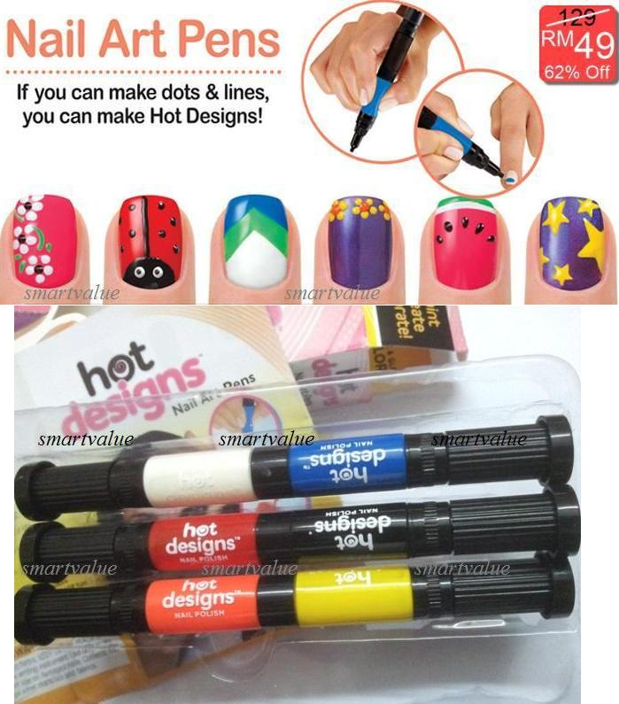 Hot Designs Nail Art Pens.Brush & Pen 2in1 Set 6 Beautiful Colours