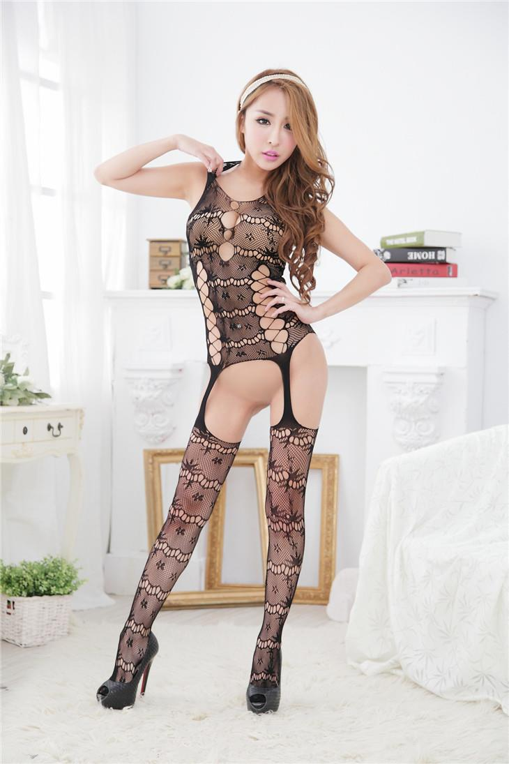Hot Jacquard Transparent One-Pcs Fishnet Stocking (Black)