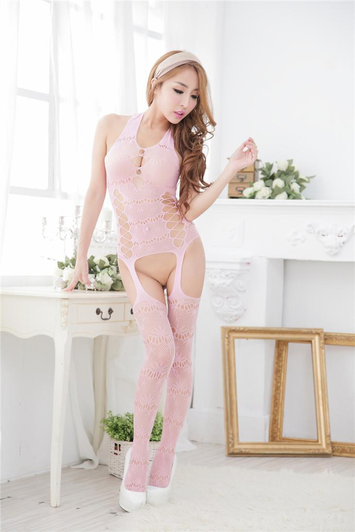 Hot Jacquard Transparent One-Pcs Fishnet Stocking (Pink)