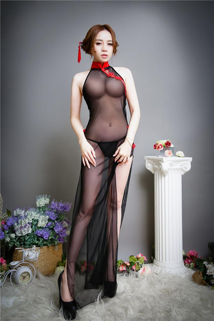 Hot~Passion Transparent Sexy Long Dress Cheongsam + Panties