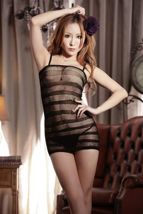 Hot Passion Zebra Stripes Net Clothes (Black)