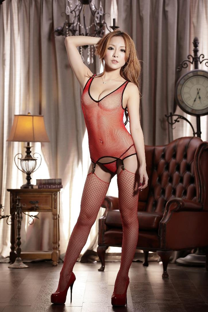 New Hot~Red Fishnet Body Stocking One Suit 3 pcs