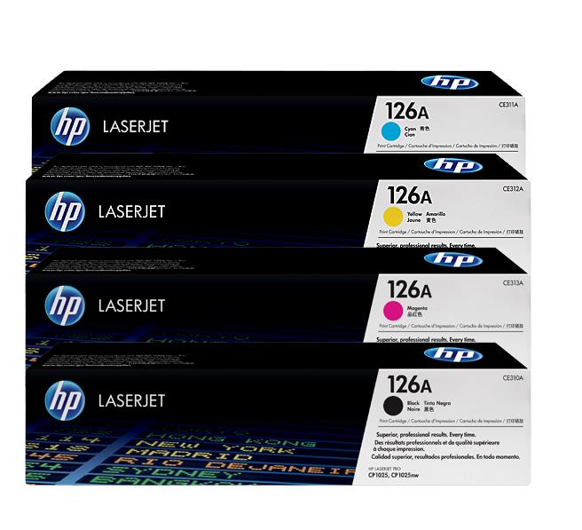 HP 126A ORIGINAL LASERJET TONER CARTRIDGE (BLACK/CYAN/YELLOW/MAGENTA)